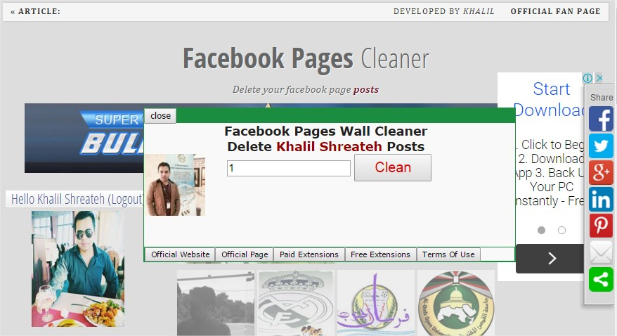 Facebook Pages Timeline Cleaner