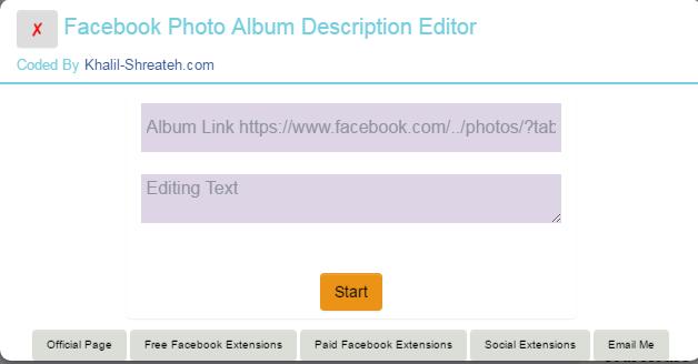 Facebook Album Photos Description Editor - Chrome Extension