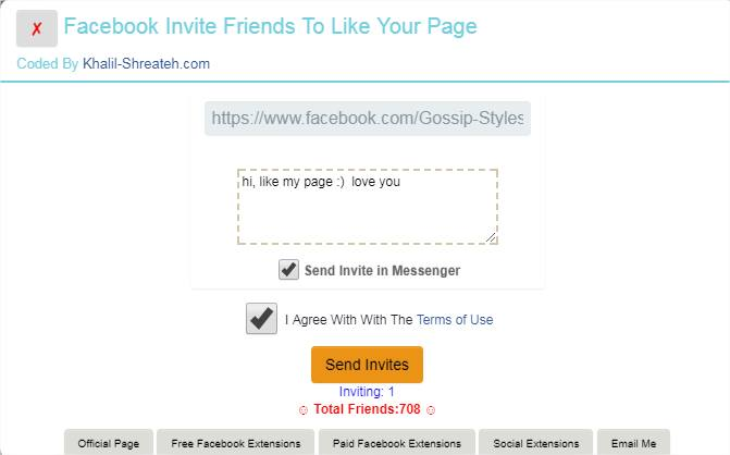Facebook Invite Friends To Like Your Fan Page All At Once - Chrome Extension
