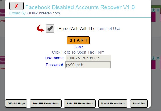 Facebook Disabled Account Recover - Chrome Extension